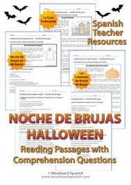 halloween spanish reading passages and worksheets spanish