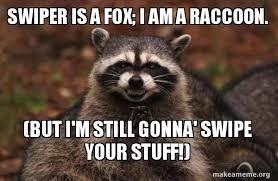 Swiper The Fox Meme - swiper is a fox i am a raccoon but i m still gonna swipe your
