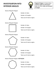 Sum Of The Interior Angles Of A Polygon Worksheet Investigation Into Interior Angles By Abhishekshah Teaching
