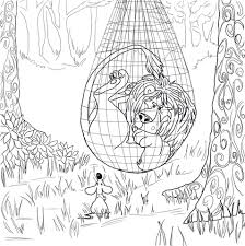 lion trapped net coloring free printable