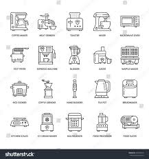 kitchen small appliances line icons household stock vector