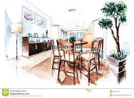 dining room design of watercolor painting stock illustration