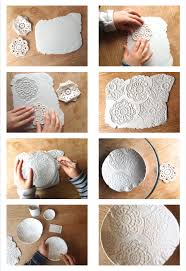 air dry clay embossed bowls using crochet ss pine cones wooden modelling tools