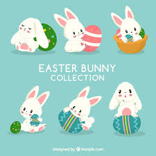 bunny easter flat easter bunnies collection vector free