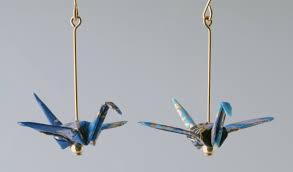 origami earrings crane earrings the paper crane origami