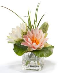 Artificial Floral Arrangements Buy Lifelike Lotus Blossom U0026 Lily Pad Silk Flower Arrangement At