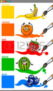 funny colors cartoon illustration of primary colors with funny fruits educational