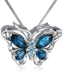 butterfly pendant necklace silver images Xpy sterling silver swiss and london blue topaz butterfly pendant jpg