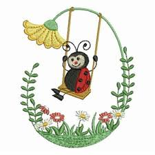 swinging ladybug embroidery designs machine embroidery designs at