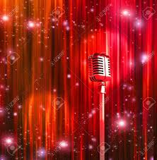 classic microphone with colorful curtains stock photo picture and