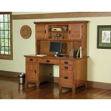 home styles arts and crafts cottage oak pedestal desk and hutch