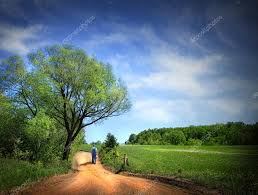 dusty road on a beautiful spring day u2014 stock photo sandralise