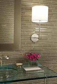 Glass Backsplash Design Ideas - Linear tile backsplash