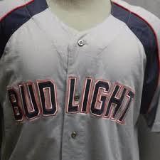 bud light baseball jersey bud light beer jansport gray sewn baseball jersey l dilly