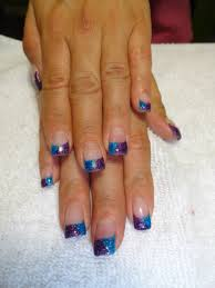blue u0026 purple glitter gel nail tips i love these two colors