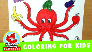 octopus coloring page for kids maple leaf learning playhouse