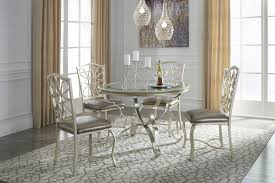 Shollyn Silver Round Dining Room Table   UPH Side Chairs - Round dining room tables for 4