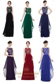 illusion sleeveless lace bodice chiffon navy blue bridesmaid dress
