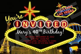 vegas themed birthday party invitations printable file