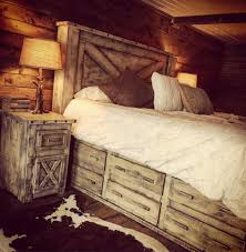 bedroom rough country rustic furniture 4 piece distressed barndoor 12 drawer platform bed price starting at