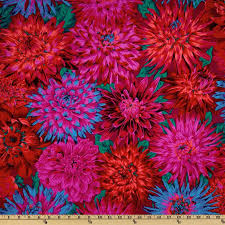Large Floral Print Curtains Kaffe Fassett Collective 2012 Cactus Dahlias Red Discount