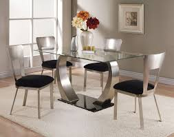 glass metal dining table acme acme camille glass top dining table with metal base 10090