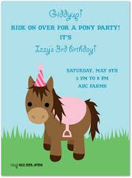 cute pink birthday pony invitations myexpression 23470