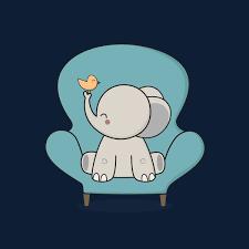 cute and happy elephant sitting on a sofa neatoshop