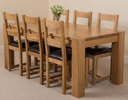 Solid Oak Dining Room Furniture by Hermosa Kensington Dining Table With 6 Chairs With Clear Lacquer