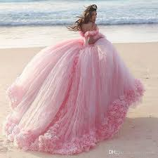 gowns for wedding luxury pink gown wedding dresses shoulder 3d floral