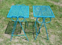 Wrought Iron Mesh Patio Furniture by Vintage Set Wrought Iron Mesh Metal Nesting Tables Outdoor Patio