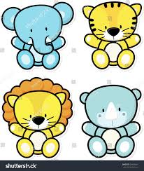 safari guide clipart vector cartoon illustration four baby safari stock vector