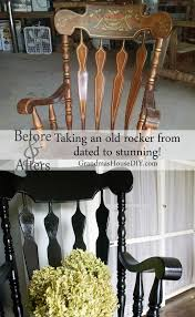 black painted rocking chair goes from dated to stunning painted