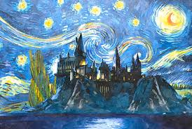 hogwarts poster painting harry potter starry night by midex planet