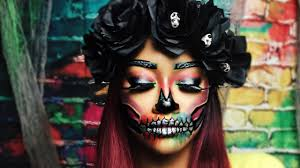 colorful halloween skull makeup bri hall youtube