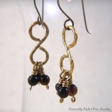 nickel free jewelry tiger eye tassel brass wirework earrings naturally nickel free