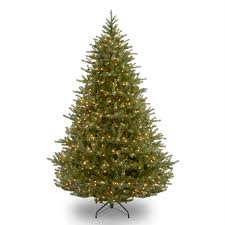shop national 9 ft pre lit noble fir rightside up artificial