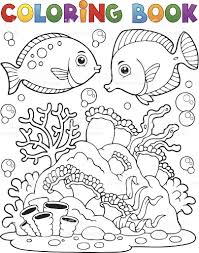 coloring book coral reef theme 1 stock vector art 450564921 istock