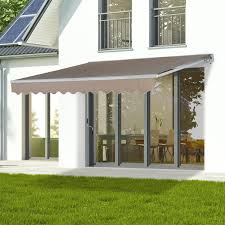 outsunny 158 manual retractable patio sun shade awning tents