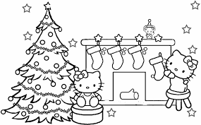 Kitty Coloring Pages Christmas Hello Tree Coloring Page