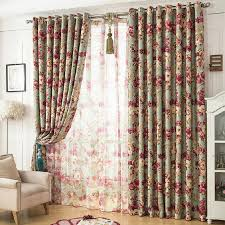 beautiful floral green shabby chic curtains blackout
