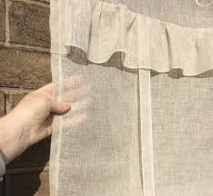Natural Linen Curtain Fabric Sheer Linen Tie Up Ruffle Door Curtain Ivory Natural French