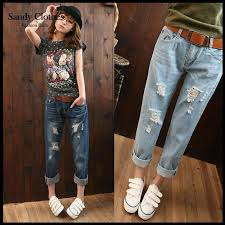summer style capri 2018 jean women pants ripped capri 2015 new brand mid waist denim