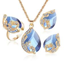 crystal drop pendant necklace images Gold color austrian peacock three piece crystal zircon water drop jpg