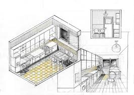 one point perspective interior drawing hand living room sketch