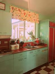 aqua blue retro kitchen cabinets and red countertops enduring