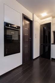 apartment design with dark doors