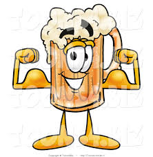 beer cartoon illustration of a beer mug mascot flexing his arm muscles by
