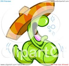 cartoon sombrero clipart of a cartoon drunk tequila worm wearing a mexican sombrero