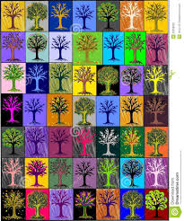 multi colored trees mosaic background royalty free stock photos